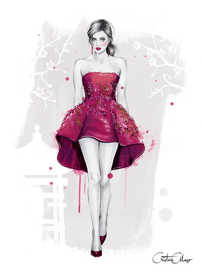 'Cherry Blossoms' (Reinterpreted look from Giambattista Valli Haute Couture S'14)