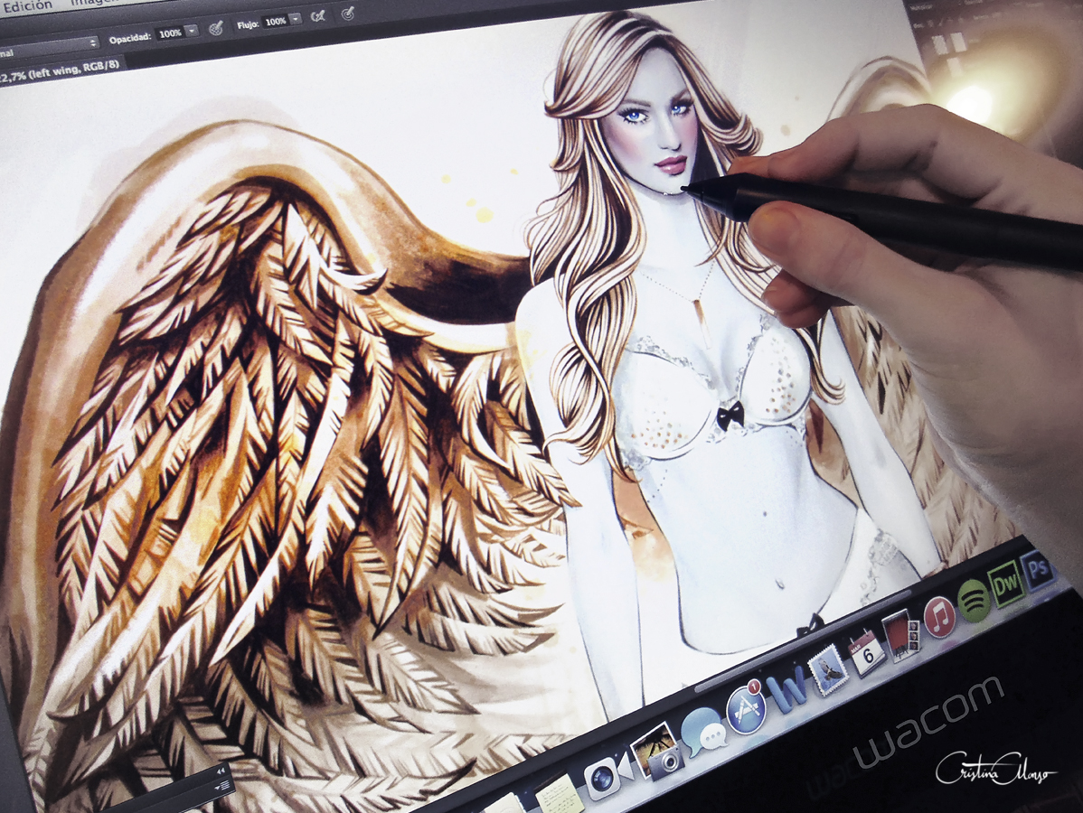 'Gilded Angel' · Work In Progress (Wacom Cintiq 22HD touch).