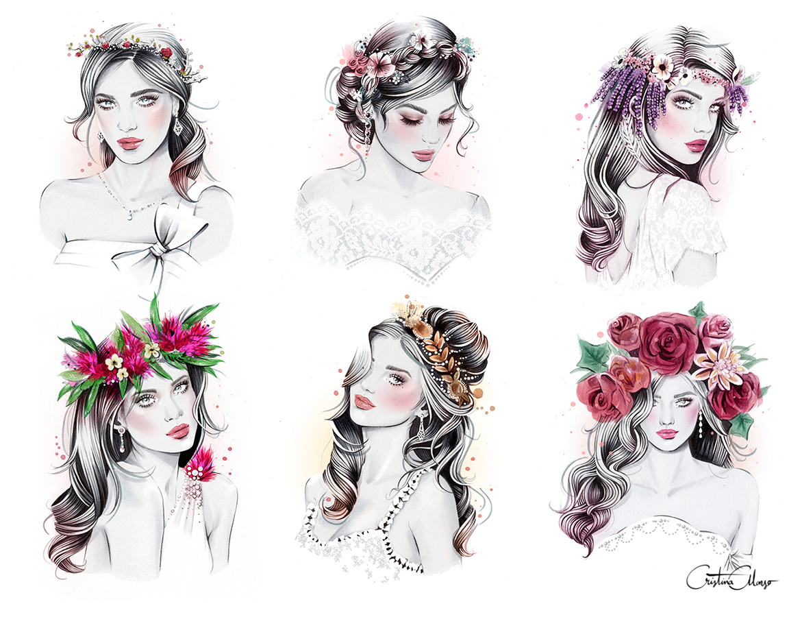 Collection of six floral crowns worn by brides: Top: Delicate, Braided, Whimsical. Bottom: Tropical, Halo, Bold. By Cristina Alonso.