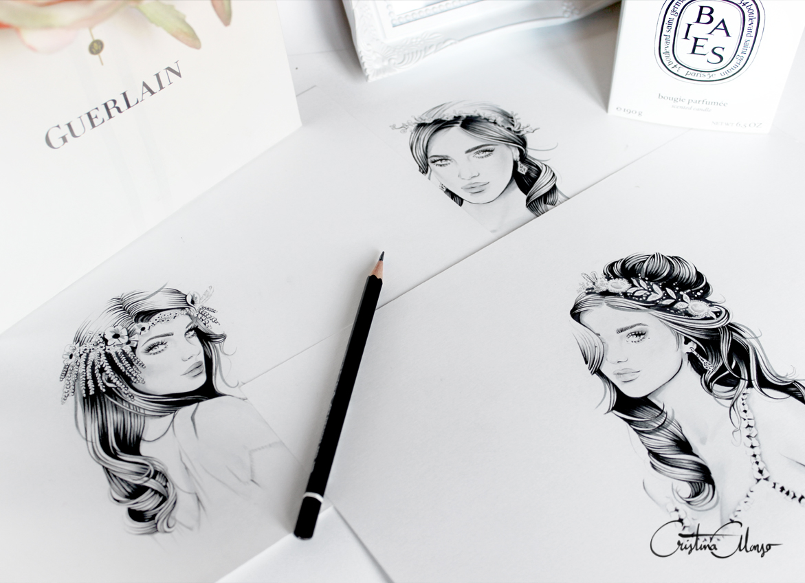 'Delicate', 'Whimsical' & 'Halo' Sketches (Work In Progress) by Cristina Alonso.
