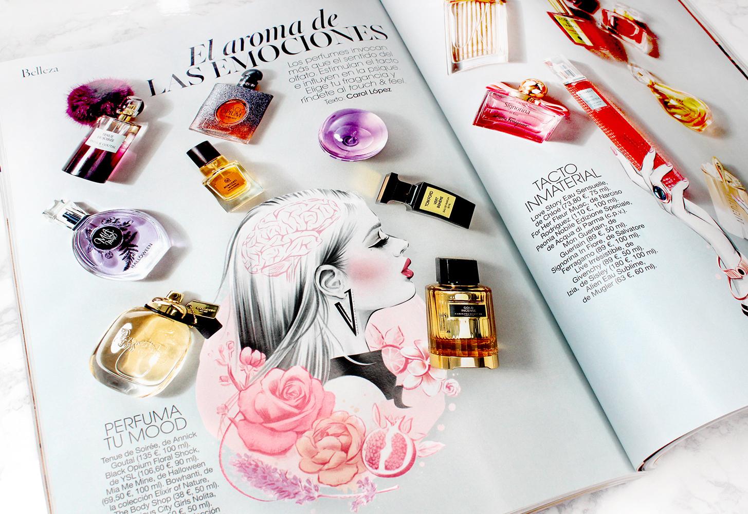 'El aroma de las emociones' Glamour (Abril 2017, Condé Nast) Illustrations by Cristina Alonso