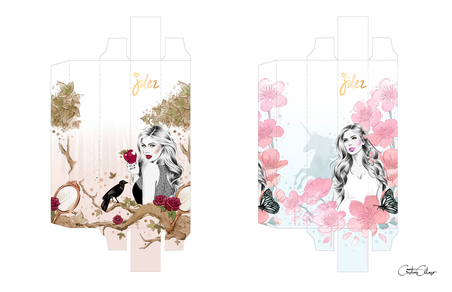 Illustrated boxes (mockups) for J'dez Beauty by Cristina Alonso